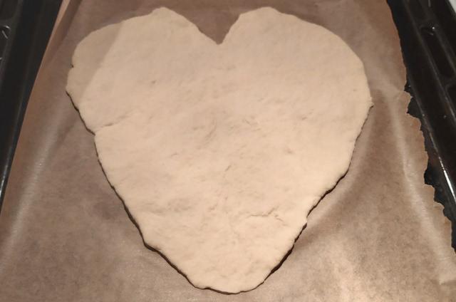 szív alakú pizza tészta