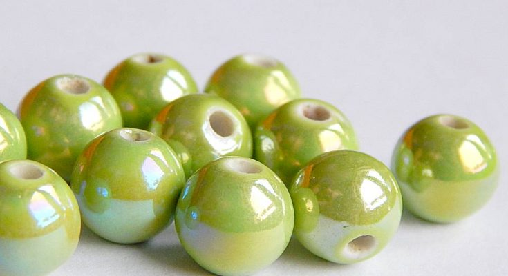 almazöld porcelán gyöngy